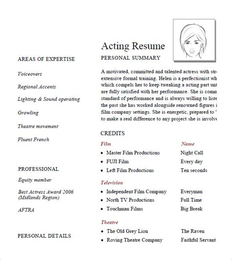 How To Set Up Your Acting Resume by Acting Resume Template 6 Free Sles Exles Format