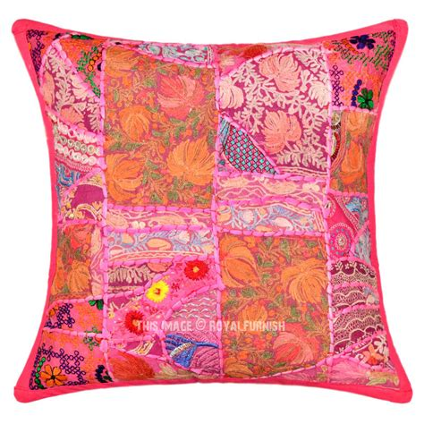 bohemian pillow covers 18x18 pink unique bohemian intricate patchwork indian