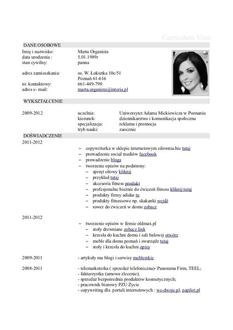 Exle Of Cv Resume For curriculum vitae resume cv