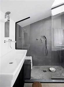 Beton Ciré Salle De Bain Sur Carrelage : b ton cir sur carrelage gris dans douche italienne ~ Preciouscoupons.com Idées de Décoration