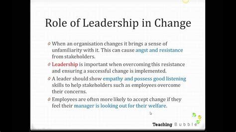 vce business management role  leadership  change