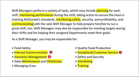 Shift Manager Responsibilities Resume by Mcdonalds Shift Manager Duties Resume Resume Format