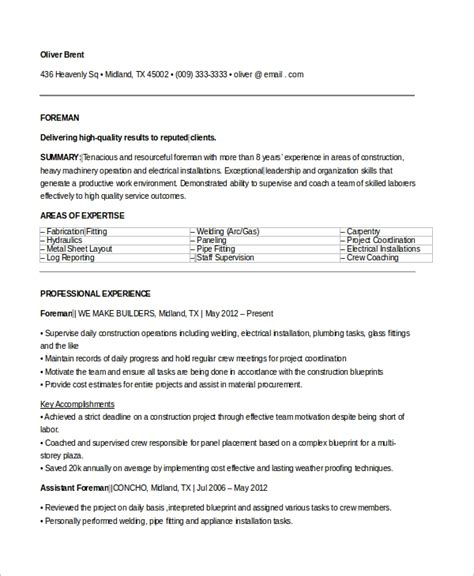 Foreman Resume Sle by Sle Electrician Resume 9 Exles In Word Pdf
