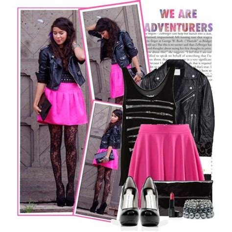 Winter night out party outfit - lace tights neon pink skater skirt and leather jacket | Fashion ...