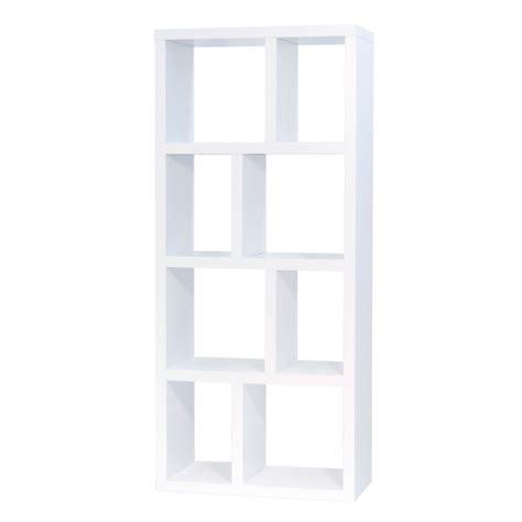 bout de canapé design etagère bibliothèque berlin 4 niveaux 70 cm blanc 9500