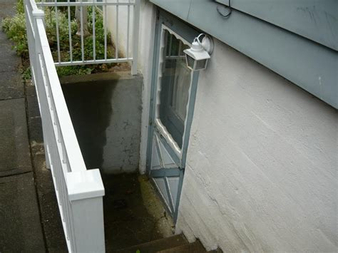 basement door cover drain preventing clogging flooding at bottom of exterior