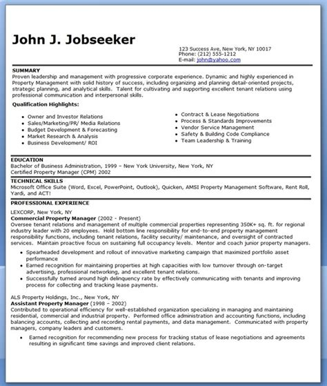 residential property manager resume sle