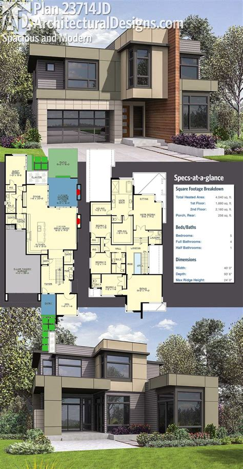 House Design Plans by Modern House Plans Architectural Designs 5 Bed Modern