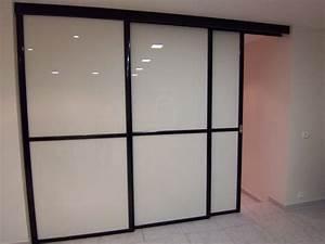 Portes coulissantes de separation de piece sans rail au for Porte de garage coulissante et porte interieur blanc laqué