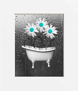 teal bathroom wall art daisy flowers teal gray home decor With teal wall decor