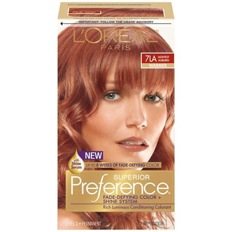 What Is The Lightest Hair Dye by Loreal Preference Hair Color 7la Lightest Auburn In 2019