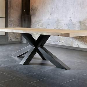 Table En Metal : salle a manger table pied metal plateau chene industriel ~ Teatrodelosmanantiales.com Idées de Décoration