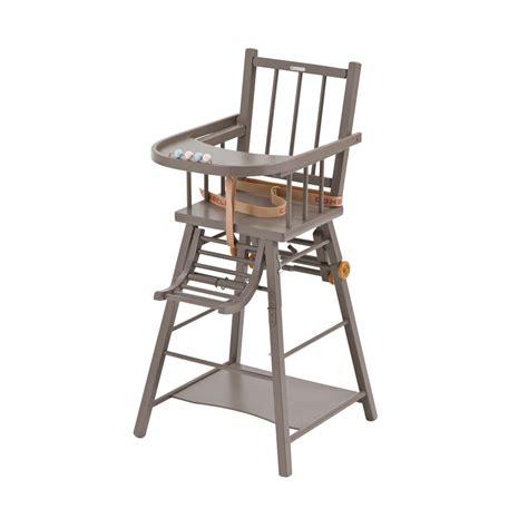 chaise haute naissance chaise haute transformable marcel laqué taupe combelle