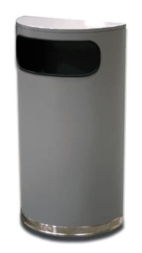 Trash Can 9 Inches Wide by Half Trash Can Side Entry 9 Gallon Silver Metalic