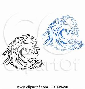Clipart Black And White And Blue Waves - Royalty Free ...