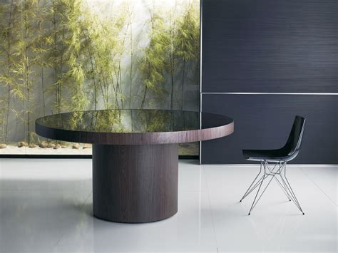 Large Round Dining Table with Colored Glass Top Anchorage