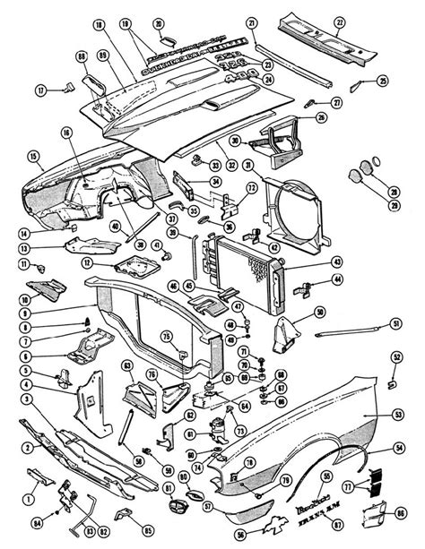 67-68 Firebird Front Parts Illustration, US GM Service Parts