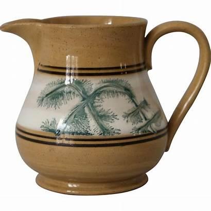 Ware Yellow Antique Jug Mocha Mochaware Pottery