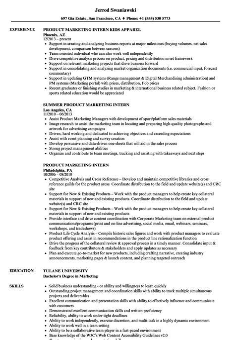 Marketing Intern Resume by Product Marketing Intern Resume Sles Velvet