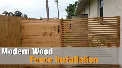 modern wood fence installation youtube