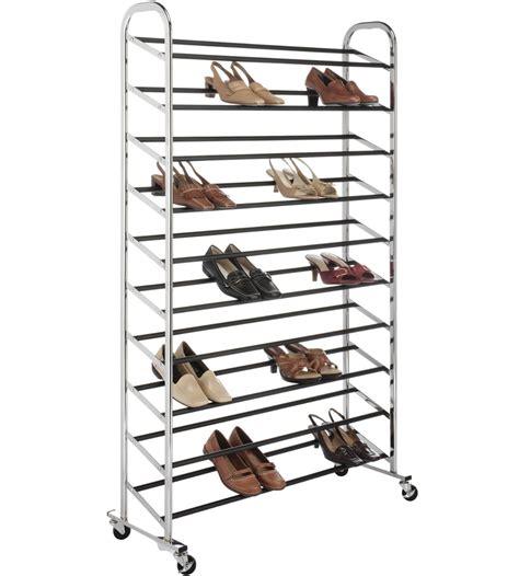 50 pair shoe rack portable shoe rack 50 pair chrome in shoe racks