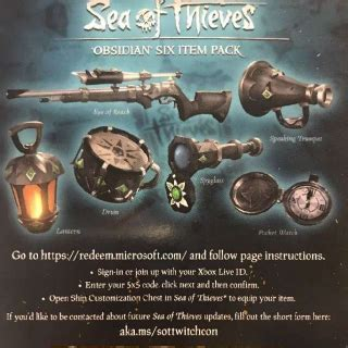 sea  thieves obsidian  item pack dlc code instant