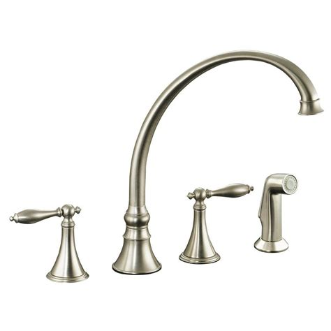 kitchen faucet nickel kohler finial 2 handle pull out sprayer kitchen faucet in