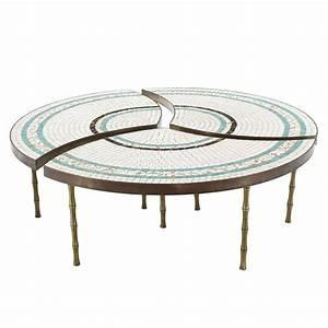 three part bronze and mosaic round coffee table for sale With round mosaic coffee table
