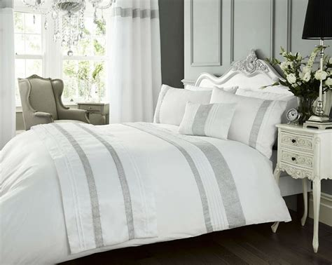 luxury diamante kimberley white pintuck duvet quilt cover bedding bed linen ebay