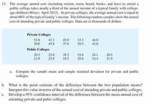 Solved: 13· The Average Annual Cost (including Tuition, Ro ...