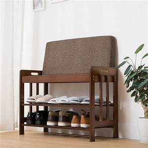 Ollieroo, Natural, Bamboo, Shoe, Rack, Entryway, Shoe, Storage, Household, Shelf, Shoe, Bench, With, Cushion