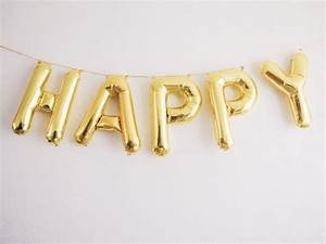 happy balloons gold mylar foil letter balloon banner kit With black mylar letter balloons