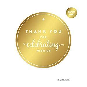 Amazoncom Andaz Press Round Circle Favor Gift Tags, Metallic Gold Ink, Thank You For