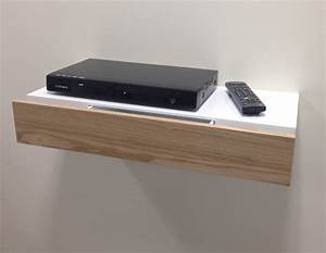 White Floating Wall Shelf For Sky Box With Wood Drawer For ...