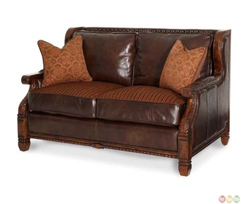 michael amini court wood trim leather and fabric