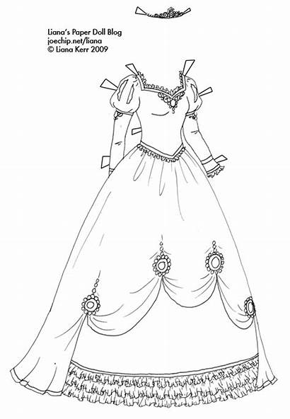Coloring Gown Princess Pages Paper Dresses Ball