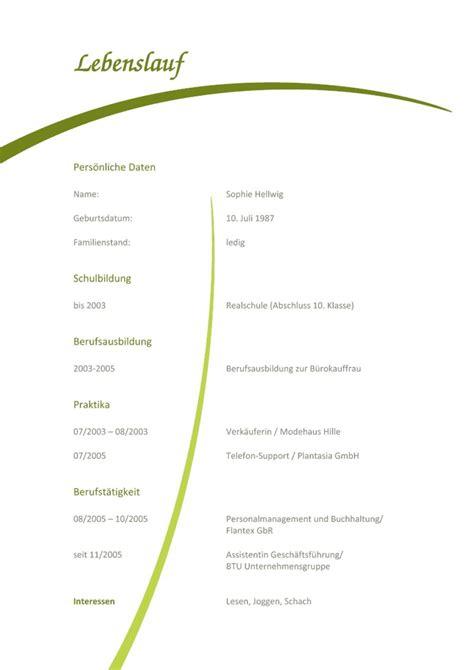 Vorlage Für Lebenslauf by Kostenlose Lebenslauf Muster Und Vorlagen F 252 R Deine