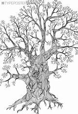 Zentangle Coloring Doodle Tree Trees Oak Pages Drawings Detailed Drawing Adult Etsy Colouring Huge Printable Line Wall Colors Custom Draw sketch template