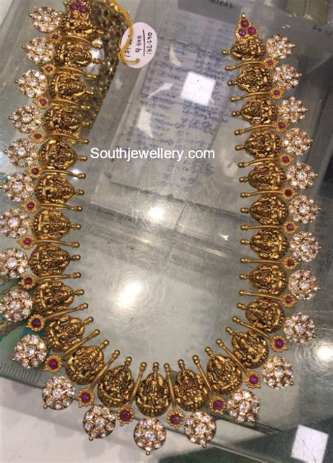 antique gold lakshmi haram jewellery designs