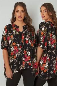 285 25 20 : black multi floral print chiffon boxy fit blouse plus ~ Jslefanu.com Haus und Dekorationen