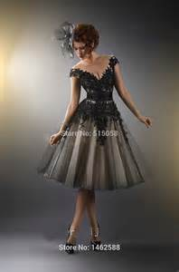 black sleeve wedding dresses aliexpress buy vintage style black lace appliques cap sleeves wedding dress tea length