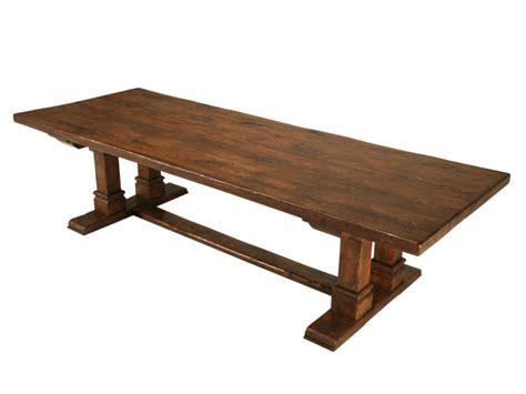 made oak trestle table rustic folk dining room