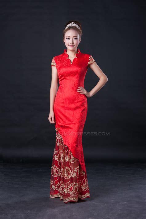trumpetmermaid cap sleeve long red prom evening formal