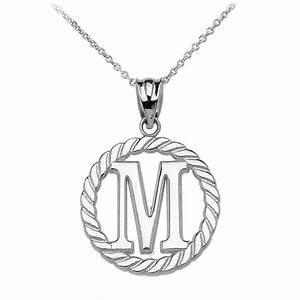 rope circle letter m pendant necklace in 9ct white gold With letter pendant necklace white gold