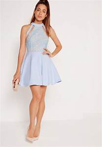 lyst missguided mesh stripe lace top skater dress powder With robe bleu patineuse