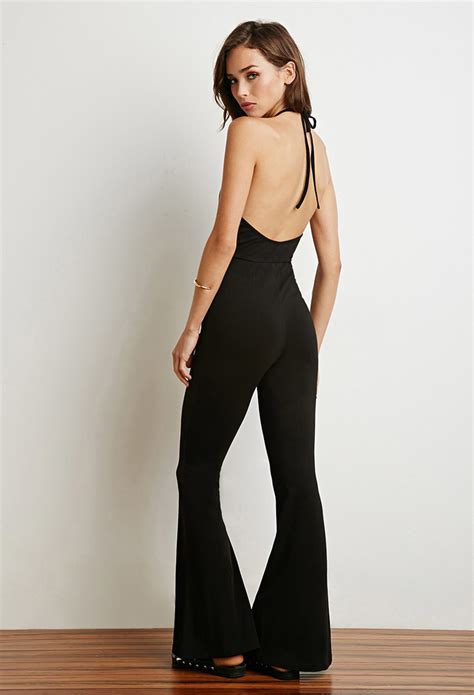 flared jumpsuit forever 21 flared halter jumpsuit in black lyst