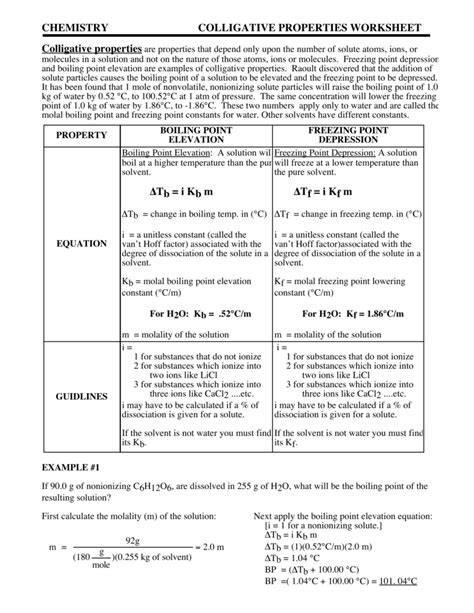 chemistry colligative properties worksheet colligative properties worksheet resultinfos