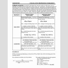 Chemistry Colligative Properties Worksheet Answers