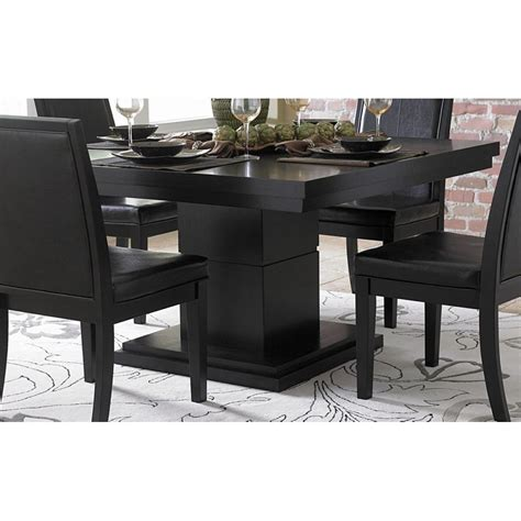 modern black table l good dining table on cicero modern black square pedestal