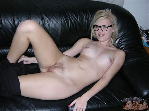 hot amateur nerd spreads hairy blonde pussy